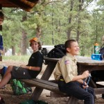 Alex at Boy Scout summer camp learning his knots