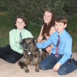 Kids with our dog Abbey!