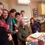 Dan's 59th BD with hungry gang lurking in the background!