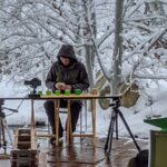 Alex recording another YouTube cubing video in the snow