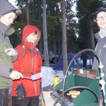 February - Cooking pancakes during the 'Klondike' winter campout