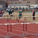 Eric leading the pack in the hurdles