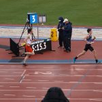 Alex running the relay in the Kansas Relays in Lawrence,KS.