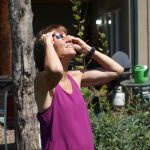 Michelle viewing the eclipse