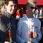 October - Alex and Tim with their X-C trophies (with Coach Addie -2017 USA Women's Mountain Runner of the Year)